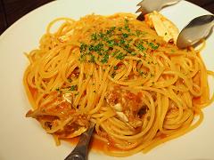 ワタリガニのトマトソース スパゲティ